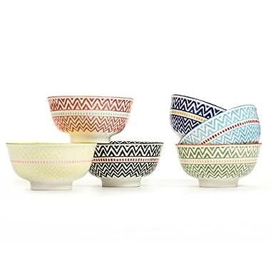 Porcelain Large Serving Bowls for Cereal, Pasta,Soup, Fruit, Ramen, Set of 6 Assorted Colors,FDA Approved (5.6  Bowls)