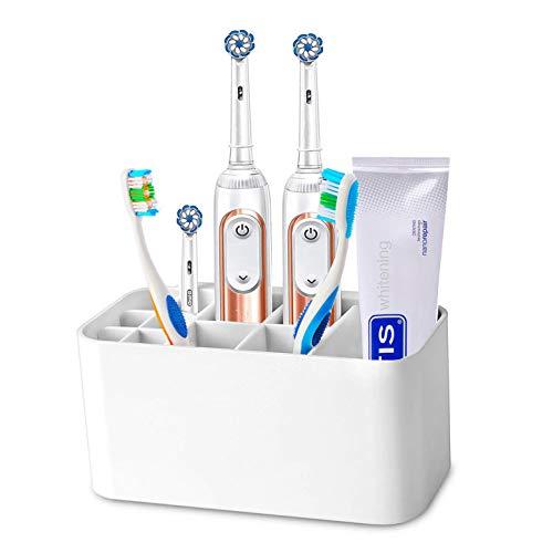 MHTECH Portaspazzolino Elettrico per Tutti i Tipi di dentifricio e spazzolino da Denti, può Essere posizionato sul Tavolo o sul Supporto a Parete (Bianco)