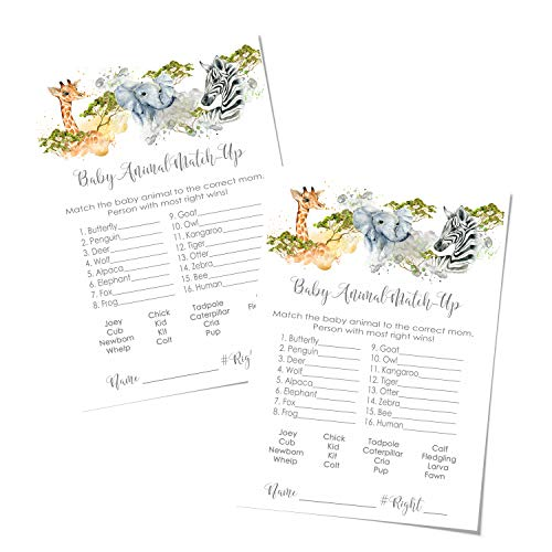 Jungle Animal Match Game Baby Shower (25 Pack) Guess Activity Cards - Kids Adults Groups – Wild Adventure – Royal Safari Party Supplies – Neutral Boy Girl