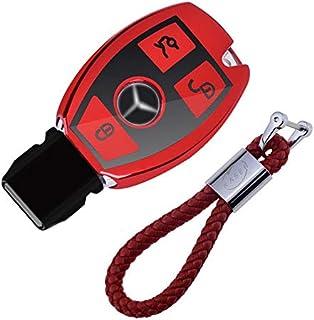 Funda de Silicona para Llave Mercedes – Cover Carcasa de TPU Cromo Suave para Keyless Mercedes Classe A B C E CLA CLK GLA GLC Protección Llaveros Mando a Distancia (Rojo)