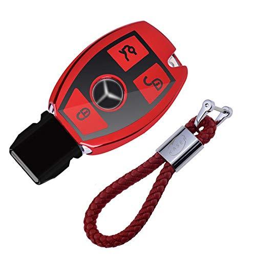kaser Funda de Silicona para Llave Mercedes – Cover Carcasa de TPU Cromo Suave para Keyless Mercedes Classe A B C E CLA CLK GLA GLC Protección Llaveros Mando a Distancia (Rojo)