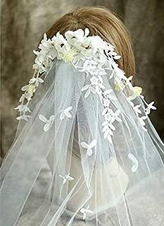 Bridal Veil Flower Headpiece Headbands 2-Tier Tiaras Wreath Veil