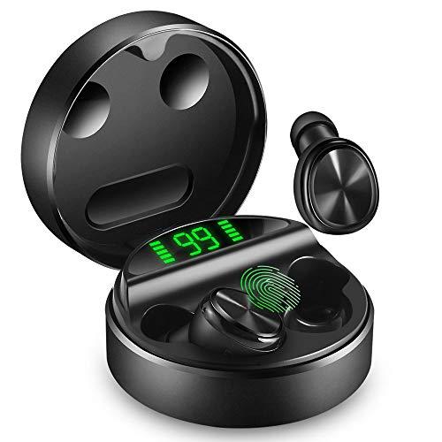 yobola Cuffie Bluetooth, Auricolari Bluetooth 5.0 24h Playtime 3D Stereo HD Cuffie Wireless con Microfono, Tocca Controllo, Auricolari Wireless con Ricarica Wireless