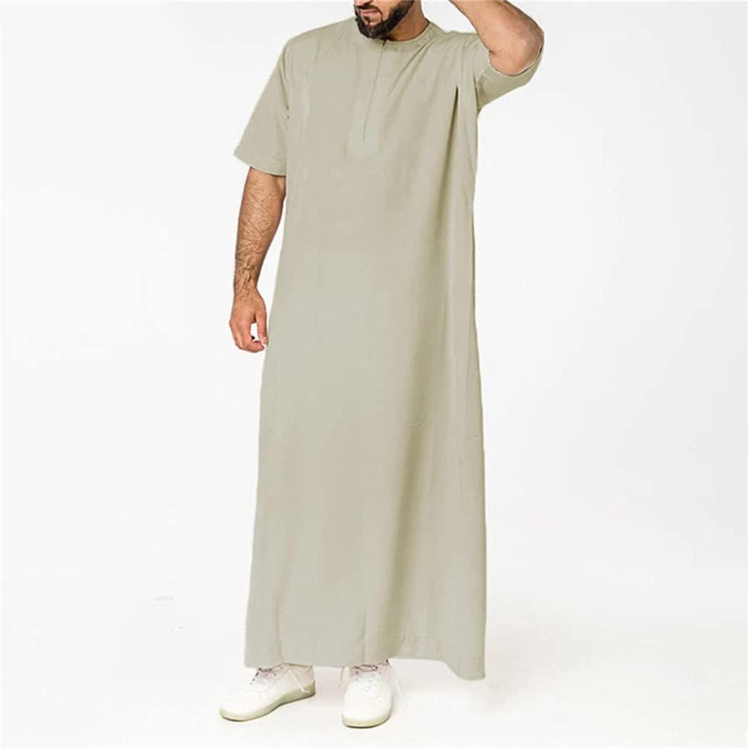KEHAIEN Men Muslim Islamic Kaftan Robes, Short Sleeve O Neck Jubba Thobe, Solid Color Casual Dubai Arabia Abaya