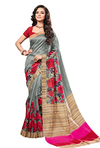EthnicJunction Silk Saree with Blouse Piece (2024_Dark_Green_Free Size)