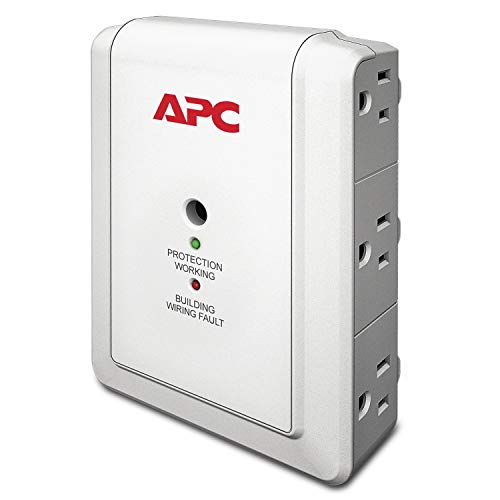 APC Wall Outlet Multi Plug Extender, P6W, (6) AC Multi Plug Outlet, 1080 Joule Surge Protector white