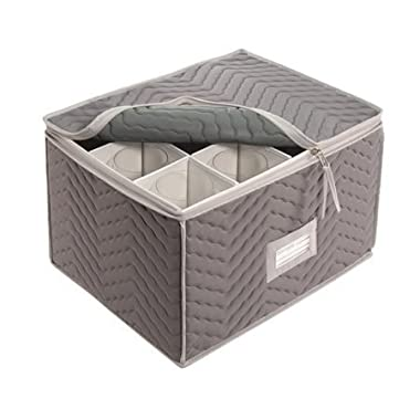 Stemware Storage Chest -Deluxe Quilted Microfiber (Light Gray) ( 15.5  x 12.5 x 10 ) (2-Pack)
