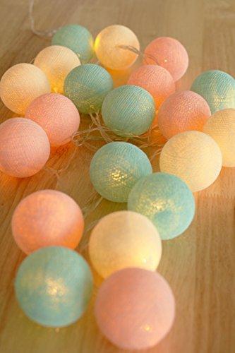 Boule Lumières pour Enfants 20 Coton LED Mariage et Fête Déco à la Chaleur Lumière Blanche Chaude (Pastel)