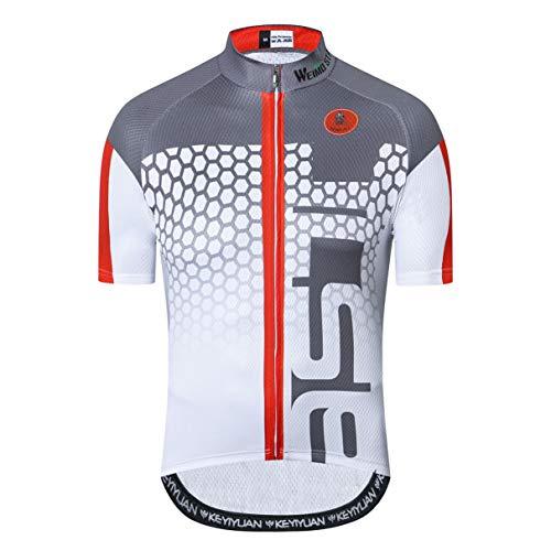Weimostar Radtrikot Männer Fahrrad Top Kurzarm MTB Shirt Reißverschluss Mountain Road Kleidung Fahrrad Sommer Team Sport Reiten Rennrad Trikot schnell trocken weiß XL