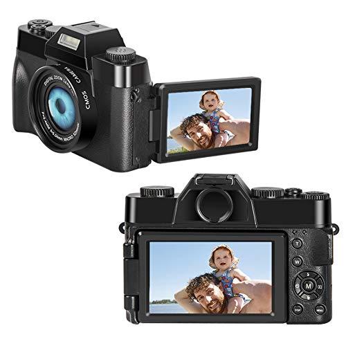 Appareil Photo Numérique Appareil Photo Full HD 2.7K 30MP Camera 16X Zoom Numérique Appareil Photo Numerique avec 3.0 Pouces Flip Screen Appareil Photo Compact pour Youtube
