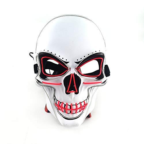 Queta LED Máscara de Calavera Halloween, con Luz fría de LED, Máscara de terror de fiestas, para Navidad/Halloween/Cosplay/Grimace Festival/Fiesta Show/Mascarada (azul + rosa)