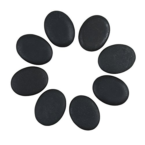 Windfulogo 8Pcs Small Hot Massage Stones Set Natural Lava Basalt Heated Warmer Stone for Spa Massage Black 1.38 x 1.77 in(3.5x4.5cm)