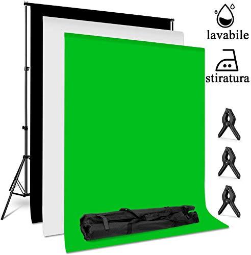 amzdeal 3x2m Soporte de Fondo con 3 Telón de Fondo Lavable(Blanco, Negro, Verde) y 3 Abrazaderas, Estudio Fotográfico para Fotografía Retrato y Video