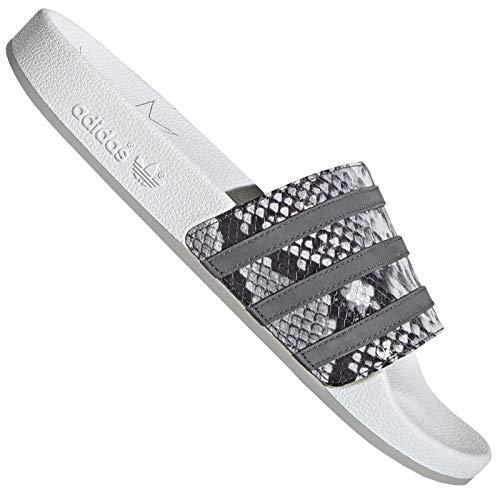 adidas Adilette - Chanclas de baño, sandalias, color blanco y gris, diseño de serpiente, color Gris, talla 47 EU