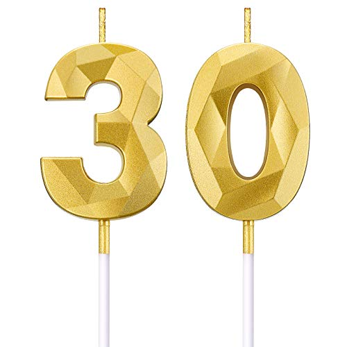 BBTO Candele di Numero per 30 ° Compleanno Candele di Torta a Forma di Diamante 3D Topper di Torta di Numero 30 Decorazione per Articoli di Compleanno Nozze Anniversario Celebrazione, Oro
