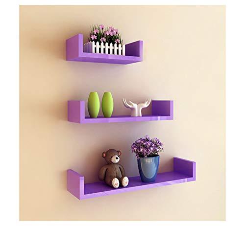 ABBD - Estante para pared de diseño nórdico, 3 estantes, madera, Morado, 30/45/60*15*10cm