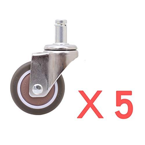 GINVF Professionelle Bürostuhl-Lenkrollen 2 '' Ersatz-Bürostuhl-Lenkräder 5er-Set, schützen Sie Ihren Boden, schnelles leises Rollen über die Kabel 11 mm (Size : Card Spring)