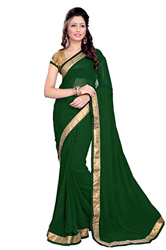 Sourbh Faux Georgette Lace Saree (6351 _Green)