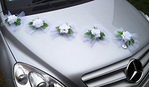 Rose blanche avec tulle pour décoration de capot de voiture