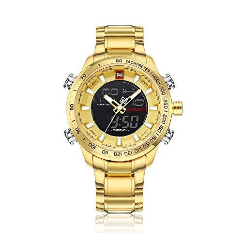 Relógio Masculino Naviforce NF9093 GG Pulseira em Aço Inoxidável– Dourado e Preto
