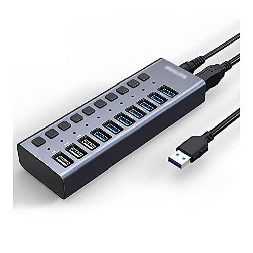 Hub USB USB Hub con interruptores de Encendido/Apagado Individuales y 1 2V / 4A Adaptador de Corriente USB Expansor de Data Hub (7 USB 3.0 Puerto + 3 Puerto de Carga) Dock Station