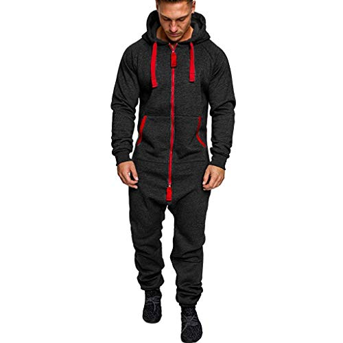 AABBQ Herren Herren Jumpsuit Jogger Jogging Anzug Trainingsanzug Overall,Fitnessbekleidung Ganzkörperanzug Basic und Schlicht Sportanzug (Armeegrün, 2XL)