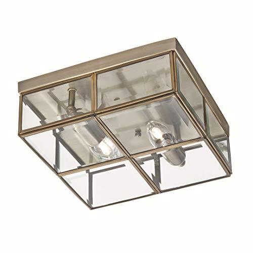 Deckenleuchte in Bronze Bauhaus Design 2xE14 bis zu 40 Watt 230V aus Metall & Glas Schlafzimmer Küche Esszimmer Lampe Leuchten innen Beleuchtung