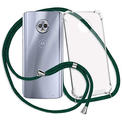 mtb more energy® Handykette kompatibel mit Motorola Moto G6 Plus, G6+ (5.9'') - dunkelgrün - Smartphone Hülle zum Umhängen - Anti Shock Strong TPU Hülle