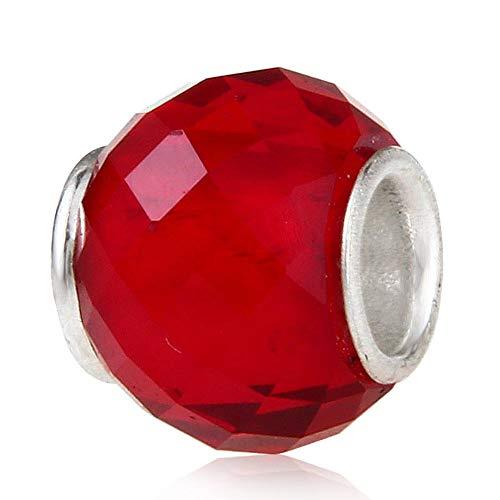 Abalorio de cristal de Murano Lampwork de plata de ley 925 con piedra natal de cumpleaños encanto aniversario para pulsera Pandora (rojo)