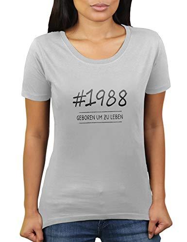 KaterLikoli - Camiseta de manga corta para mujer con texto en alemán 'Geboren 1988 um zu Leben - Año 1988' gris claro XXXL