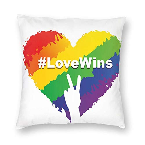 Illustration Of Colorful Heart In Lgbt Colors Love Wins Hashtag Valentines Square Printed Cotton Cushion Cover,Throw Pillow Case, Slipover Pillowslip for Home Sofa Couch Chair Back Seat, 18x18 in