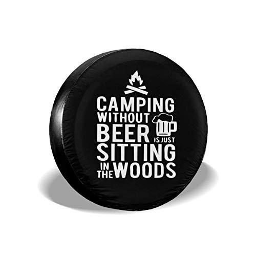 N\A Camping sin Cerveza Cubierta de neumático de Repuesto Cuero de PVC Cubierta de neumático de Rueda a Prueba de Polvo Impermeable para Jeep