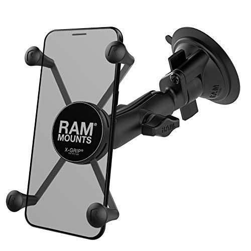RAM Mounts X-Grip Large Phone Mount with RAM Twist-Lock Suction Cup Base RAM-B-166-UN10U with Medium Arm for Vehicle Windshields