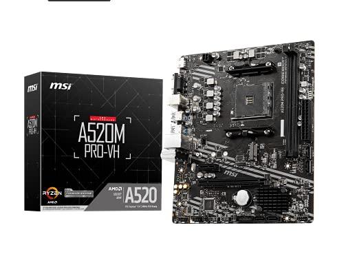 MSI Placa Base A520M Pro-VH (AMD Ryzen 3000 3ª generación AM4, DDR4, M.2, USB 3.2 Gen 1, HDMI/VGA, Micro ATX)