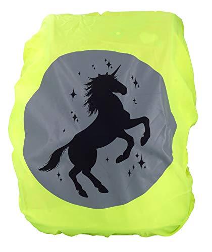 EANAGO Premium Schulranzen/Rucksack Regenschutz/Regenüberzug, ohne Nähte, 100% wasserdicht, mit Sicherheits-Reflektionsbild (Unicorn yellow)