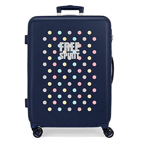 Movom Free Dots Maleta Mediana Azul 48x68x26 cms Rígida ABS Cierre combinación 70L 3,7Kgs 4 Ruedas Dobles