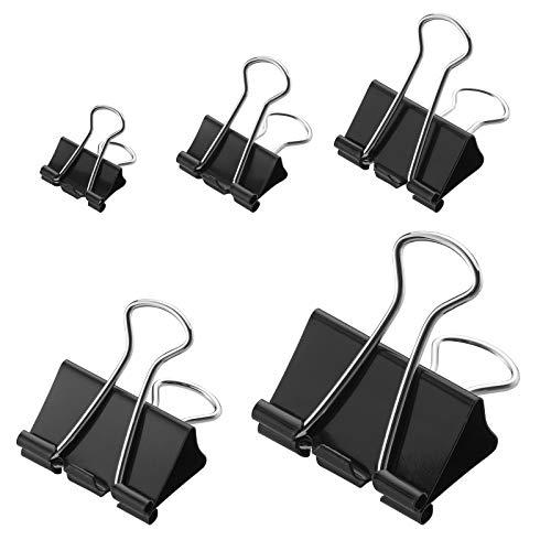 WESTCOTT Foldback-Klammern, 60 Stück, schwarz, Set mit 5 Boxen in unterschiedlichen Größen (jeweils 12 Clips: 15, 19, 25, 32, 41 mm), E-10718 00