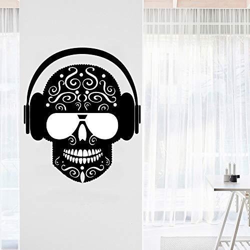 Creative Rock Genießen Sie Musik Sänger Super Star Gitarre Note Zeichen DIY Vinyl Wandaufkleber Schlafzimmer Home Decoration Kunst Aufkleber Geschenk Kopfhörer Schädel Muster 114 * 132cm