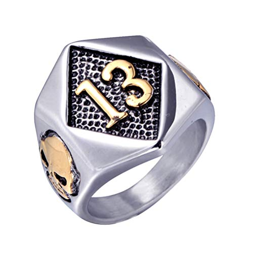OAKKY Men Stainless Steel Vintage Evil Skull Lucky Number 13 Ring Rock Hip Hop Motorcycle Gothic Biker Gold Plated Size S