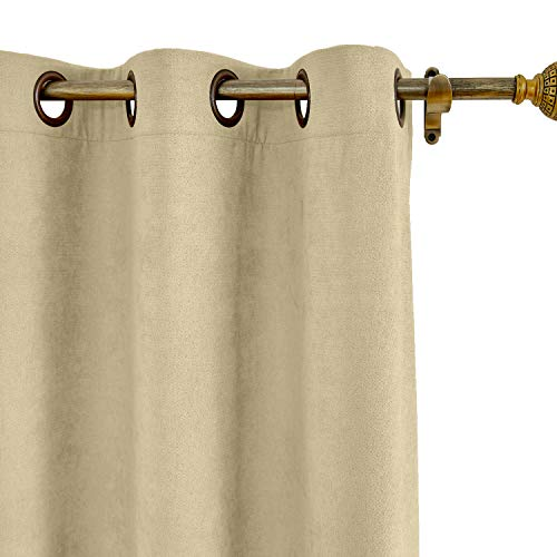 """ChadMade Extra Long Curtains 72"""" W x 102"""" L Polyester Cotton Drapery with Blackout Lining Antique Bronze Grommet Curtains Children's Room Burlywood (1 Panel), Kante Collection"""