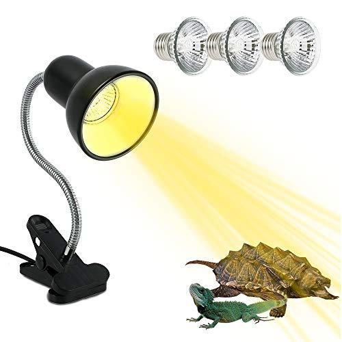 JTWEB Lámpara de Tortuga de Cristal de Tortuga UVA UVB de Abrazadera para Acuarios Pinza giratoria de 360 Grados y Fuente de alimentación Lámpara para Tortuga, Lagartos, Serpientes, Camaleones
