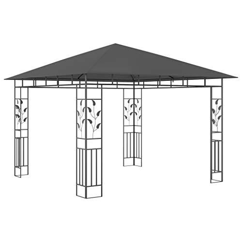 Tidyard Carpa de jardín Carpas para Fiestas Cenador con mosquitera Gris Antracita 3x3x2,73 m 180 g/m²