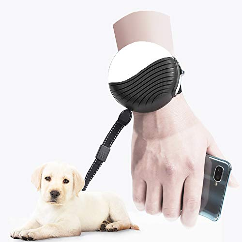 Mowis Hands-Free Retractable Dog Leash, Extendable Puppy Running Leash Dog Leash for Dogs up to 55lbs