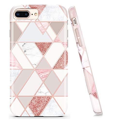 DOUJIAZ Compatible with Bling Glitter Sparkle Marble Design Clear Bumper Glossy TPU Soft Rubber Silicone Cover Phone Case for iPhone 7 Plus / 8 Plus /6 Plus 6s Plus(Rose Gold Grid)