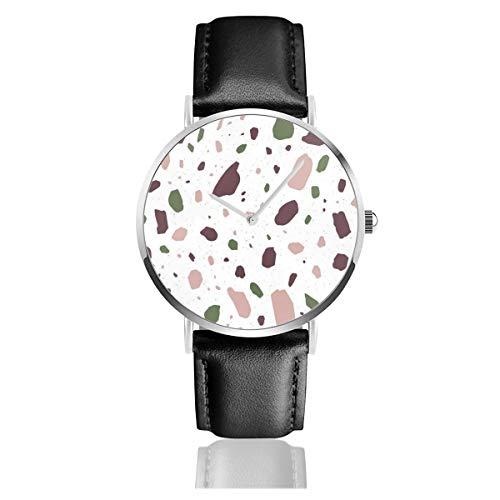 Damen-Armbanduhr, elegant, silberfarbenes rundes Gehäuse, PU-Lederband, Terrazzo, geometrische Textur oder Fliese, nahtloses Zifferblatt, analog, Quarzuhrwerk, modische Armbanduhr
