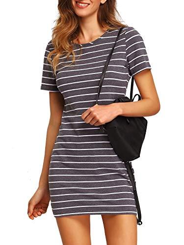 Floerns Women's Casual Short Sleeve Striped Bodycon T-Shirt Dress Grey M