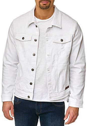 Indicode Herren Bryne Jeansjacke aus 98% Baumwolle | Moderne Jeans Jacke Herrenjacke Markenjacke Destroyed Washed Out Mens Denim Jacket Übergangsjacke Freizeitjacke für Männer Offwhite L