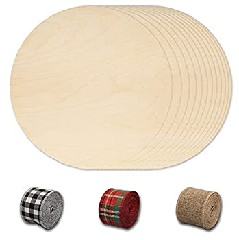 Round Wood Discs for Crafts 12Pcs 12 Inch Wood Circles Wood Rounds Wooden Cutouts with Ribbon & Twine for DIY Crafts Wood Buring Painting Christmas Decor,Wooden Circular Chips