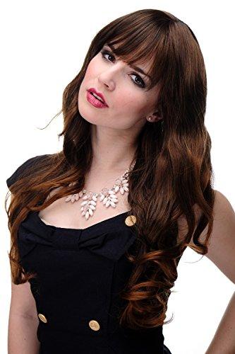 WIG ME UP - 285-2T30 Damen Perücke große kräftige Locken, welligem Haar mit glattem Pony Braun Schwarzbraun-Kupferbraun-Mix ca. 65 cm