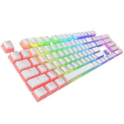 Tecware PBT Keycaps, Double-Shot PBT Keycap Set, for Mechanical Keyboards, Full 112 Keys Set, OEM Profile, English (US, ANSI) (Pudding White)